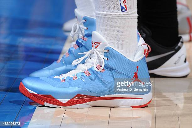 A close up shot of the shoes of Blake Griffin of the Los Angeles Clippers during the game against the Los Angeles Lakers at Staples Center on April 6...