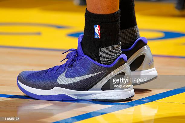 Close up shot of the shoes of Kobe Bryant of the Los Angeles Lakers during a game against the Golden State Warriors on April 6 2011 at Oracle Arena...