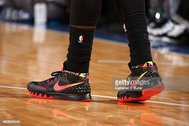 A close up shot of the shoes of Kyrie Irving of the Cleveland Cavaliers as he stands on the court during a game against the New York Knicks at...