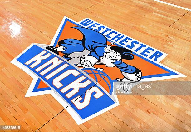 A close up shot of the Westchester Knicks logo before the game against the Maine Red Claws at the Westchester County Center on November 12 2015 in...