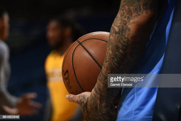 A close up shot of Wilson Chandler of the Denver Nuggets holding the official NBA Spalding basketball on April 4 2017 at the Smoothie King Center in...