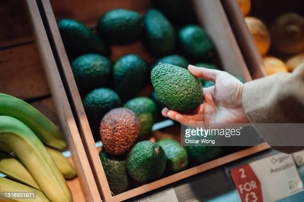 close up shot of woman's hand holding avocado in grocery store - freshness stock pictures, royalty-free photos & images