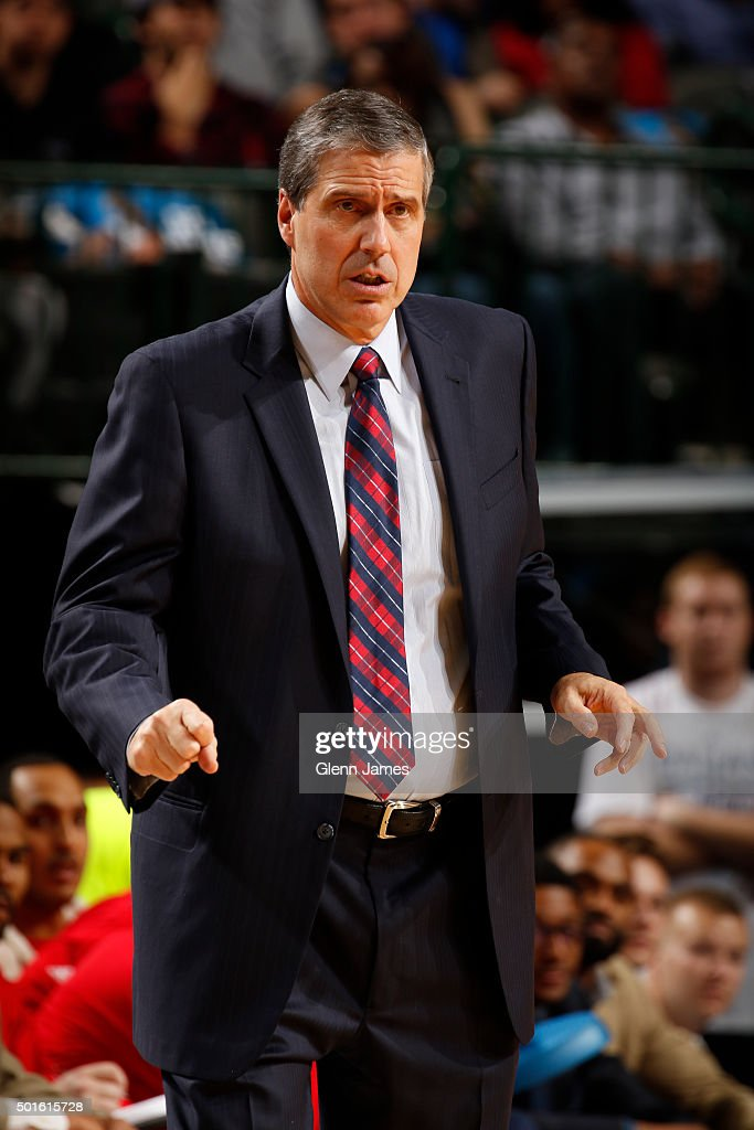 A close up shot Randy Wittman of the Washington Wizards during the game against the Dallas Mavericks on December 12, 2015 at the American Airlines Center in Dallas, Texas.