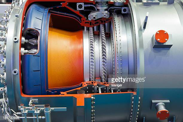 A close up shot with details of an industrial gas turbine