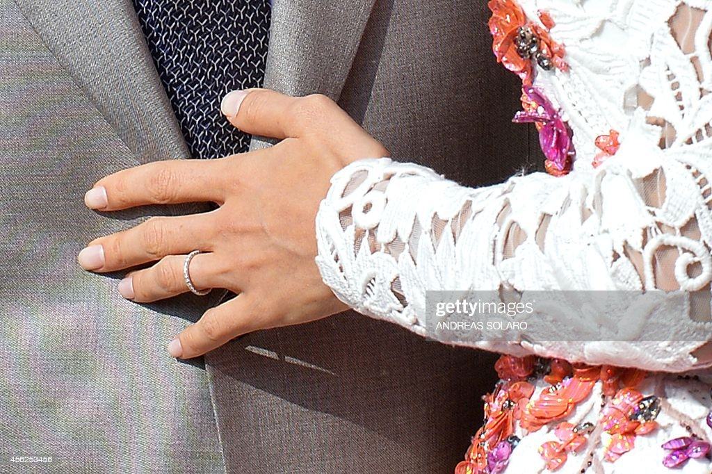 A Close Up Shows The Wedding Band Of Amal Alamuddin As She Stands Next To Her Husband George Clooney Aboard Taxi Boat On Grand C September 28
