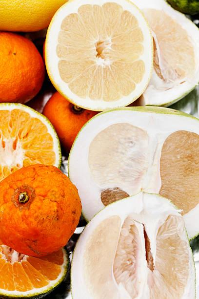 Close up sliced citrus fruits