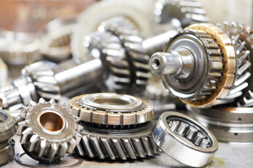Close up snapshot of small gears from an automobile engine 177025972