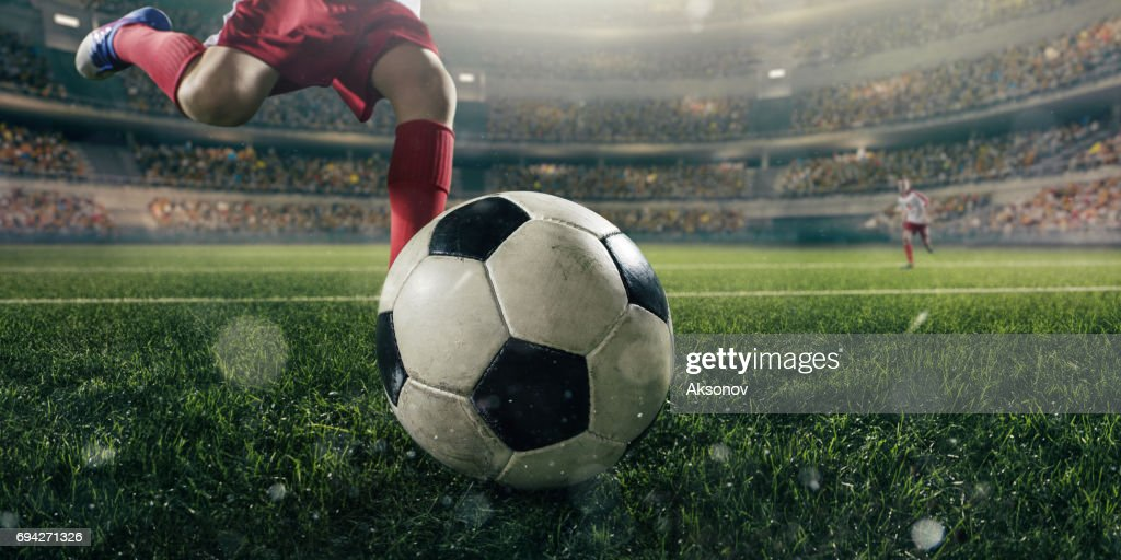 Close up soccer kids player with ball : Stock Photo