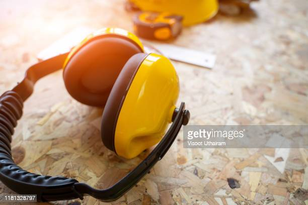 close up standard construction safety equipment. - protective sportswear stock pictures, royalty-free photos & images