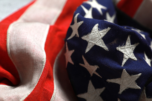 Close up star on the American flag freely lying . 1157881072