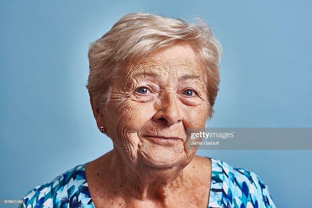 Close up studio portrait of a late 70's female : Stock Photo