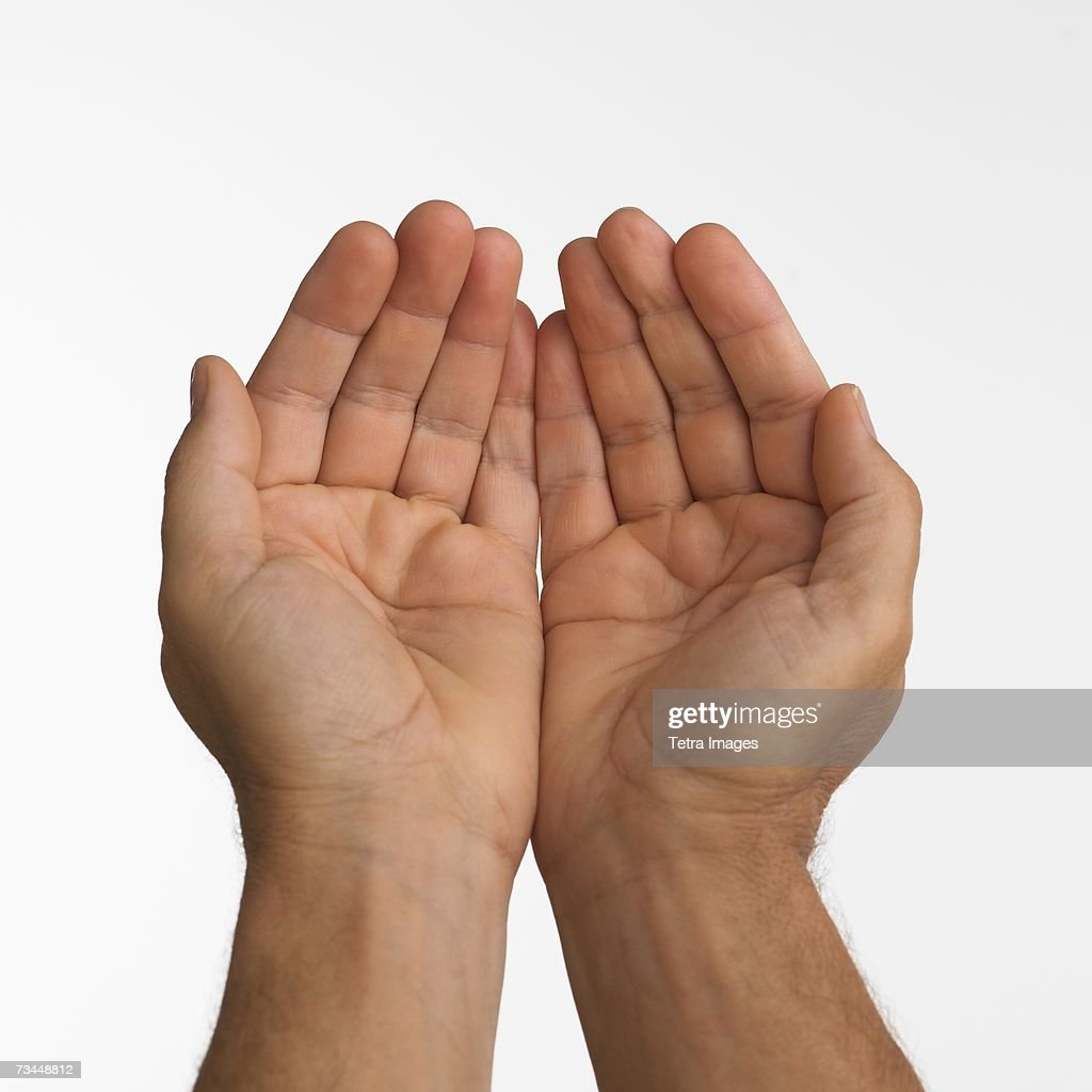Close up studio shot of man's cupped hands : Stock Photo