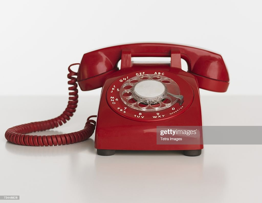 Close up studio shot of rotary telephone : Stock Photo