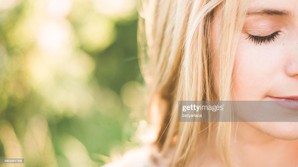 Close up summer portrait : Stock Photo