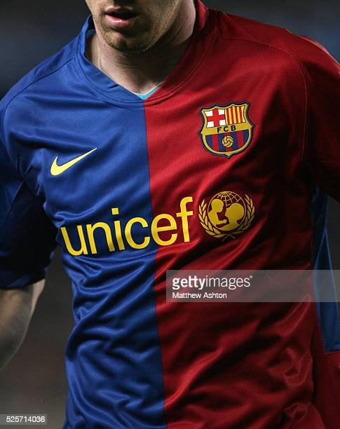 Close up the FC Barcelona shirt with the Unicef logo Barca is supporting | Location Barcelona Spain