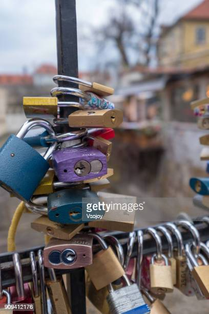 close up the locks at lovers bridge, prague, czech republic - vsojoy stock pictures, royalty-free photos & images
