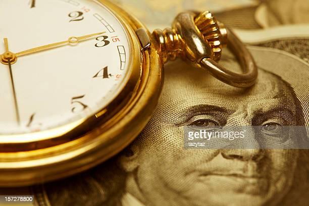Nahaufnahme, Zeit und Geld. Gold.