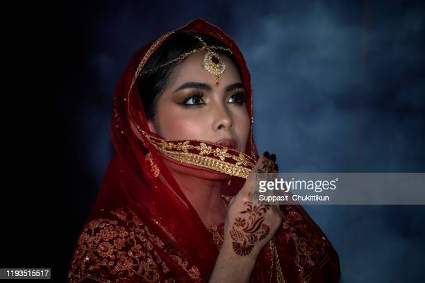 close up. traditional indian woman beauty face and eyes with perfect make up. - vogue stock pictures, royalty-free photos & images