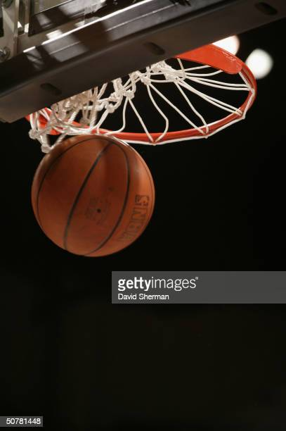 A close up view of a basketball going through the net taken in Game two of the Western Conference Quarterfinals between the Minnesota Timberwolves...
