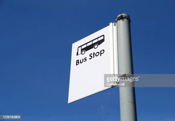 Close up view of a bus stop sign on May 19, 2020 in Aylesbury, England. The British government has started easing the lockdown it imposed two months...