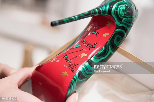 Close up view of a Christian Louboutin autographed shoe during a personal appearance by fashion designer Christian Louboutin at Nordstrom Downton...