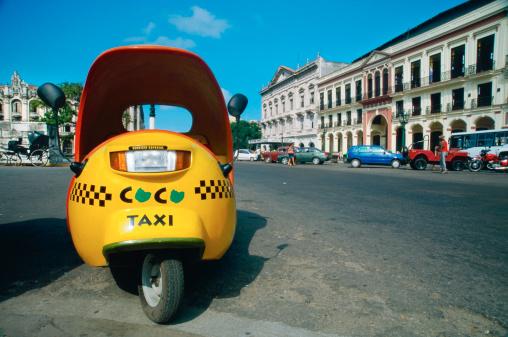 Close up view of a coco taxi, Havana, Cuba - gettyimageskorea