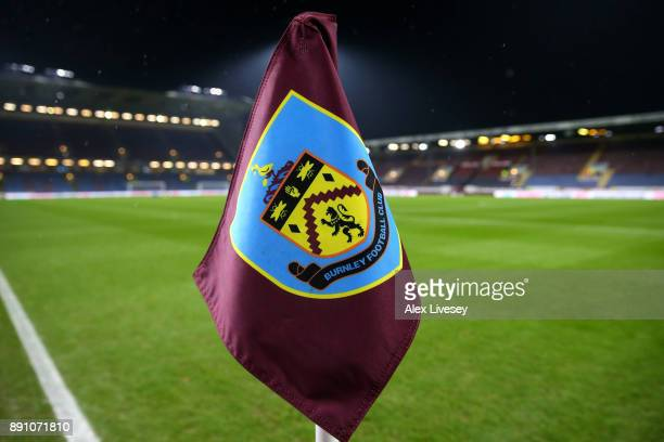 Close up view of a corner flag inside the stadium prior to the Premier League match between Burnley and Stoke City at Turf Moor on December 12 2017...