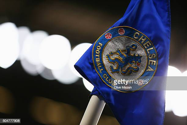 A close up view of a corner flag prior to the Barclays Premier League match between Chelsea and West Bromwich Albion at Stamford Bridge on January 13...