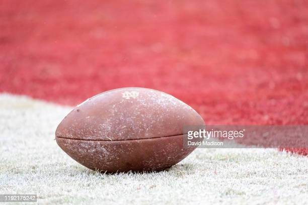 Close up view of a football on the field in Stanford Stadium prior to an NCAA football game between the Notre Dame Fighting Irish and the Stanford...