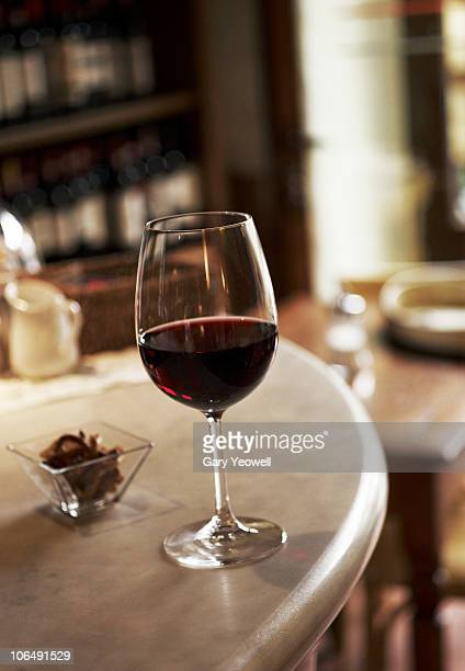 Close up view of a glass of red wine