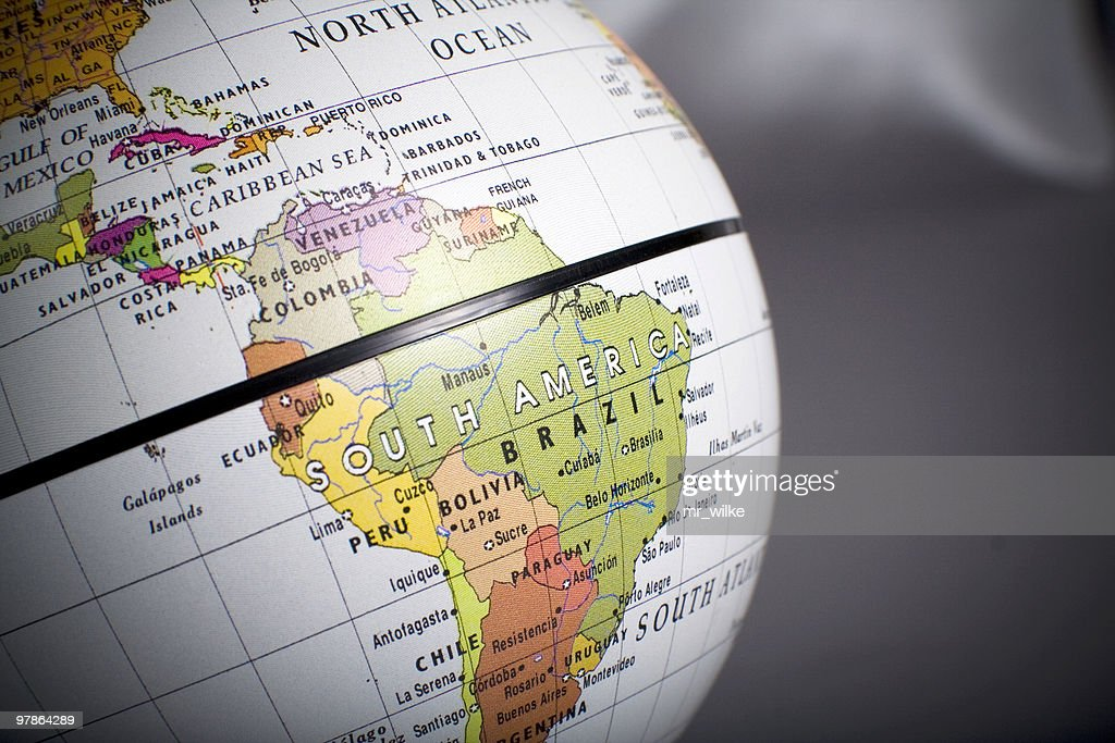 Close up view of a globe on South America : Stock Photo
