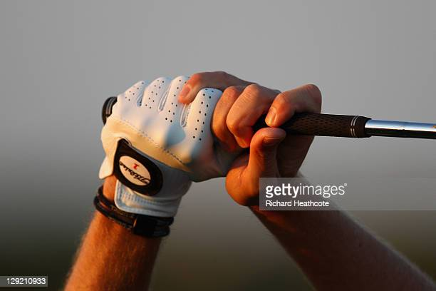 A close up view of a golfers grip during the second round the Portugal Masters at Oceanico Victoria Golf Course on October 14 2011 in Vilamoura...