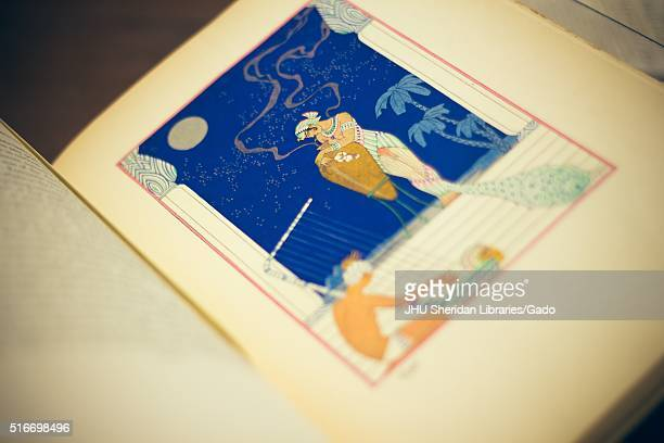 Close up view of a Greek style love scene printed in color on a plate in a rare book showing a princess holding an amphora while a man in a loincloth...