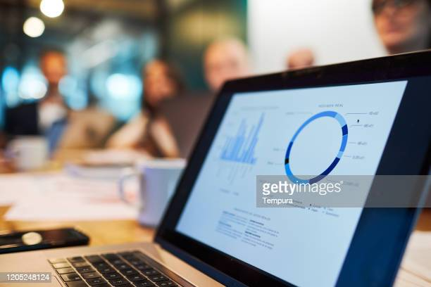 close up view of a laptop with a business chart on the screen. - analysing stock pictures, royalty-free photos & images