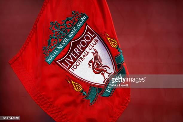 A close up view of a Liverpool corner flag prior to the Premier League match between Liverpool and Tottenham Hotspur at Anfield on February 11 2017...