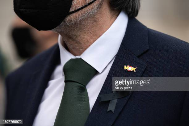 Close up view of a party pin worn by the deputy of the VOX conservative party, Espinosa de los Monteros, gives his support to the demonstration...