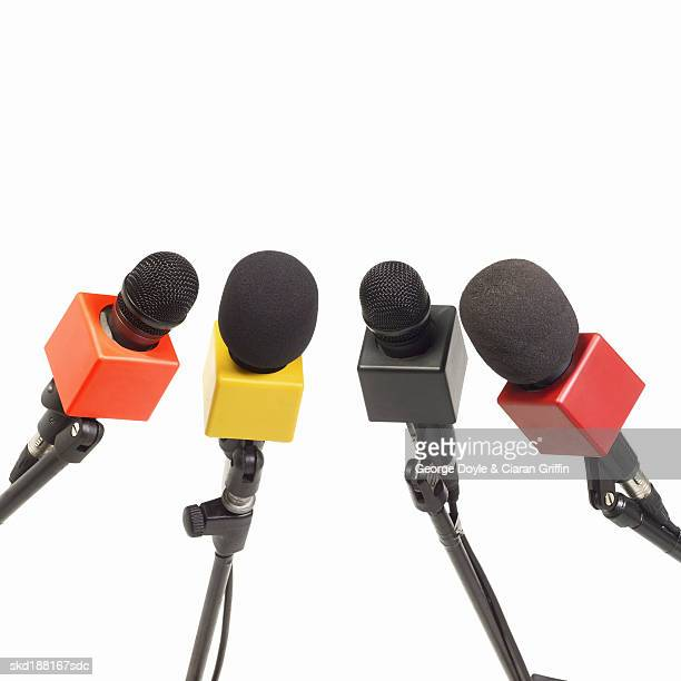 Close up view of a set of microphones