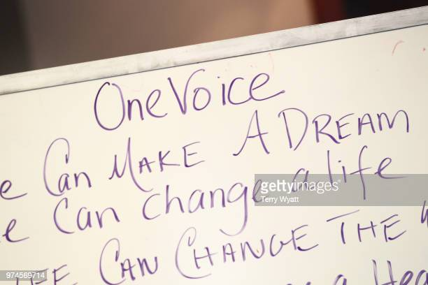 A close up view of a sign at the ACM Lifting Lives Music Camp Songwriting Workshop at Vanderbilt University on June 14 2018 in Nashville Tennessee