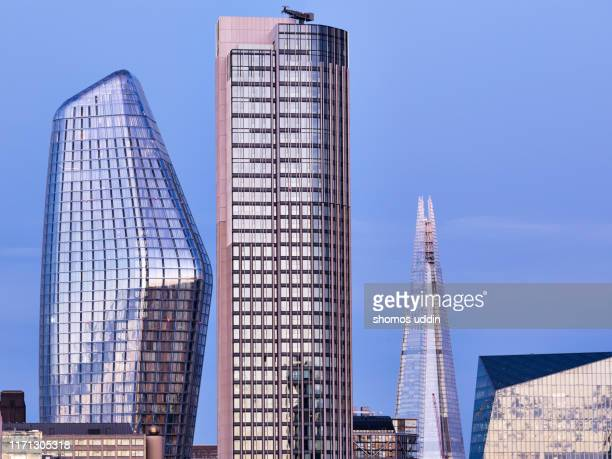 close up view of city skyscrapers - skyscraper stock pictures, royalty-free photos & images
