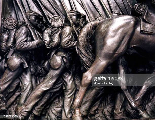 Close up view of Civil War Memorial to Robert Gould Shaw and the Massachusetts FiftyFourth Regiment a bronzerelief sculpture by Augustus SaintGaudens...