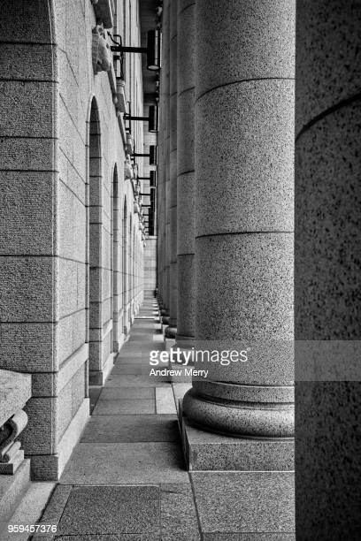 Close up view of columns and exterior wall, Parliament House Helsinki, Eduskuntatalo, Parliament of Finland