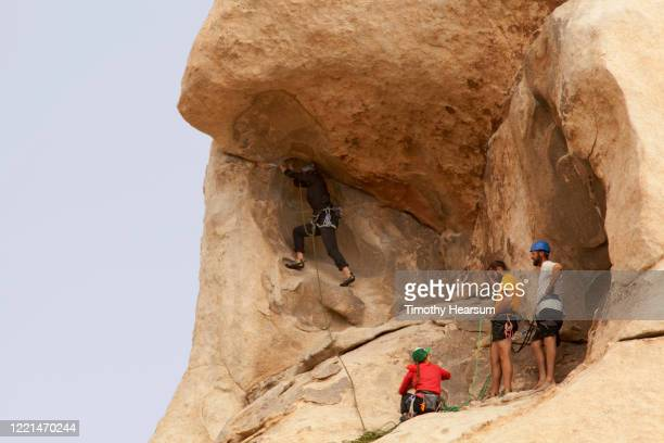 close up view of four rock climbers preparing the next move in joshua tree national park - timothy hearsum stockfoto's en -beelden