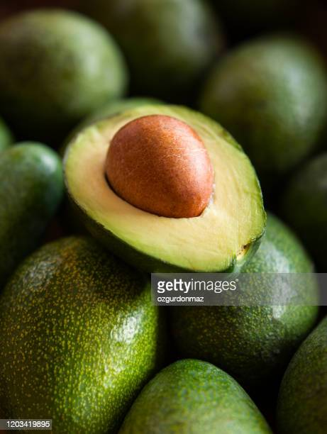 close up view of halves of an avocado - avocado stock pictures, royalty-free photos & images