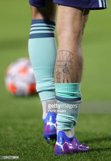 Close up view of James Maddison of Leicester City's tattoo commemorating winning the FA Cup during The Pre-Season Friendly between Wycombe Wanderers...