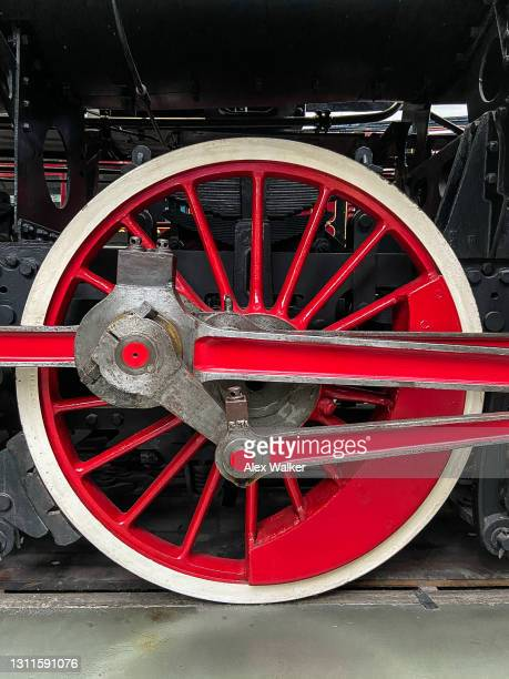 close up view of large vintage steam train wheel. - 20th century style stock pictures, royalty-free photos & images
