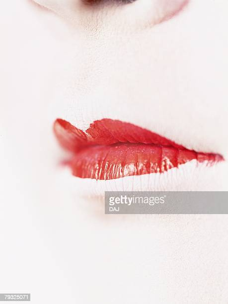 Close up view of lips of the Kabuki actor acting as female