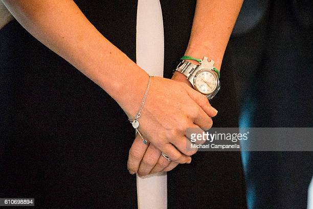 Close up view of Princess Sofia of Sweden's watch and wrist band while she attends the opening of the 'Porphyry The Royal Stone' exhibition at...