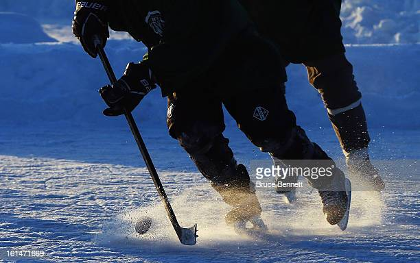 A close up view of pucks and sticks photographed at the 2013 USA Hockey Pond Hockey National Championships on February 8 2013 in Eagle River...