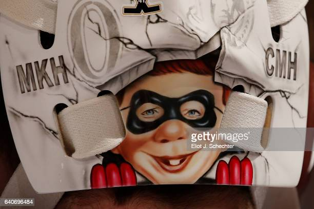 A close up view of the art work on Goaltender Andrew Hammond of the Ottawa Senators helmet during warm ups against the Florida Panthers at the BBT...
