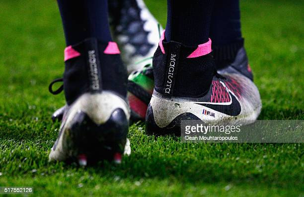 A close up view of the boots worn by Blaise Matuidi of France during the International Friendly match between Netherlands and France at Amsterdam...